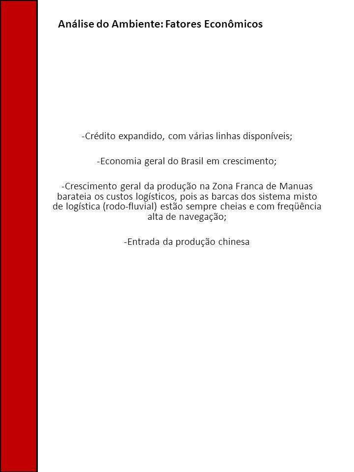 Análise do Ambiente: Fatores Econômicos -Crédito expandido, com várias linhas disponíveis; -Economia geral do Brasil em crescimento; -Crescimento gera