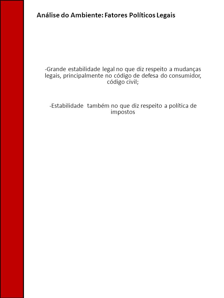 Análise do Ambiente: Fatores Políticos Legais -Grande estabilidade legal no que diz respeito a mudanças legais, principalmente no código de defesa do