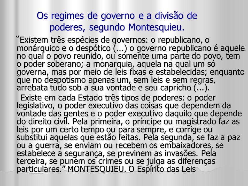 Os regimes de governo e a divisão de poderes, segundo Montesquieu. Existem três espécies de governos: o republicano, o monárquico e o despótico (...)