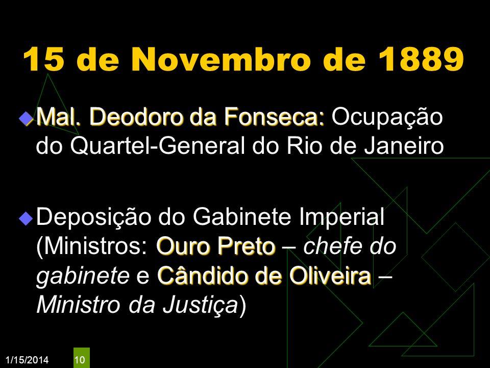1/15/2014 10 15 de Novembro de 1889 Mal. Deodoro da Fonseca: Mal. Deodoro da Fonseca: Ocupação do Quartel-General do Rio de Janeiro Ouro Preto Cândido