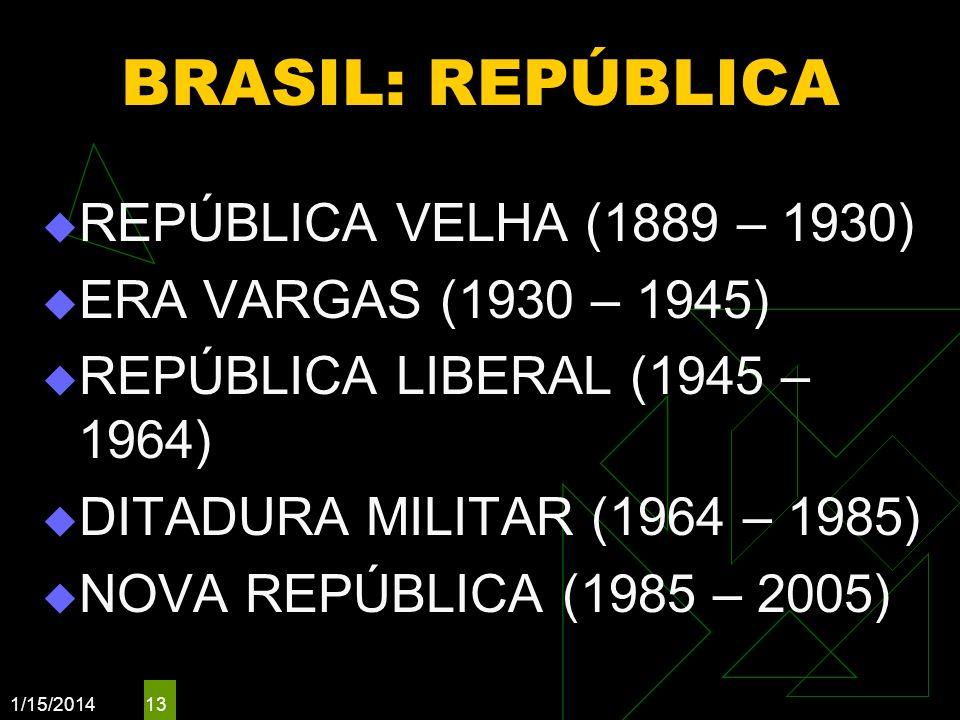 1/15/2014 13 BRASIL: REPÚBLICA REPÚBLICA VELHA (1889 – 1930) ERA VARGAS (1930 – 1945) REPÚBLICA LIBERAL (1945 – 1964) DITADURA MILITAR (1964 – 1985) N