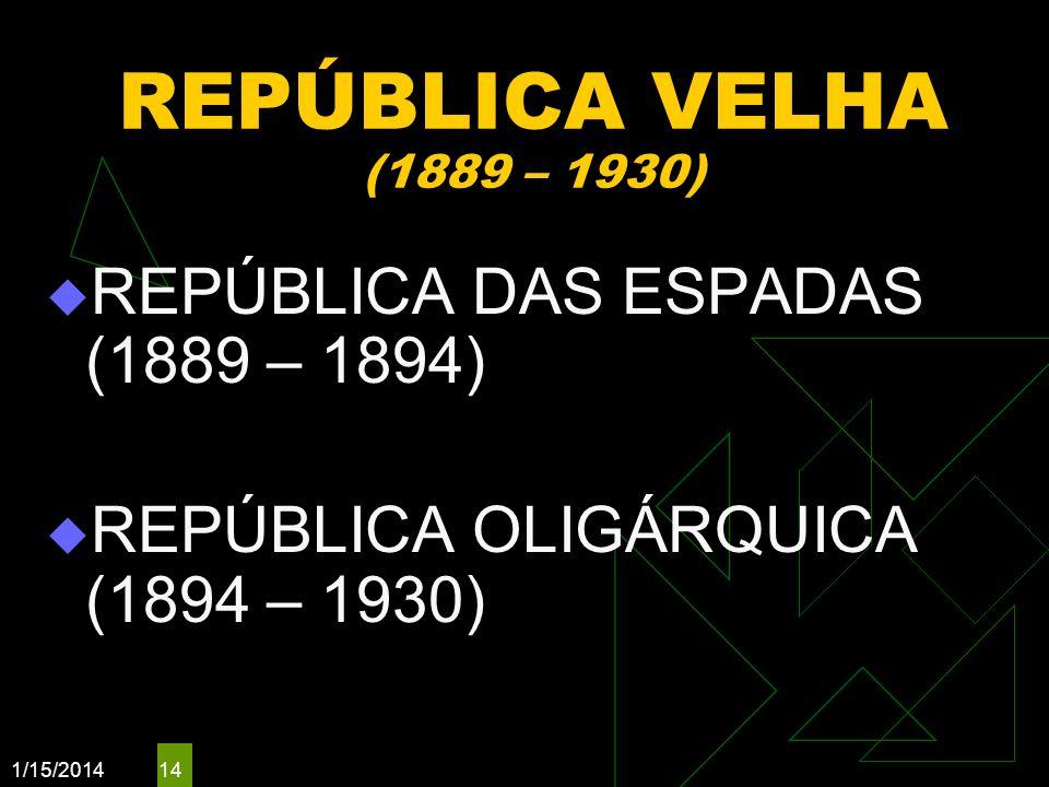 1/15/2014 14 REPÚBLICA VELHA (1889 – 1930) REPÚBLICA DAS ESPADAS (1889 – 1894) REPÚBLICA OLIGÁRQUICA (1894 – 1930)