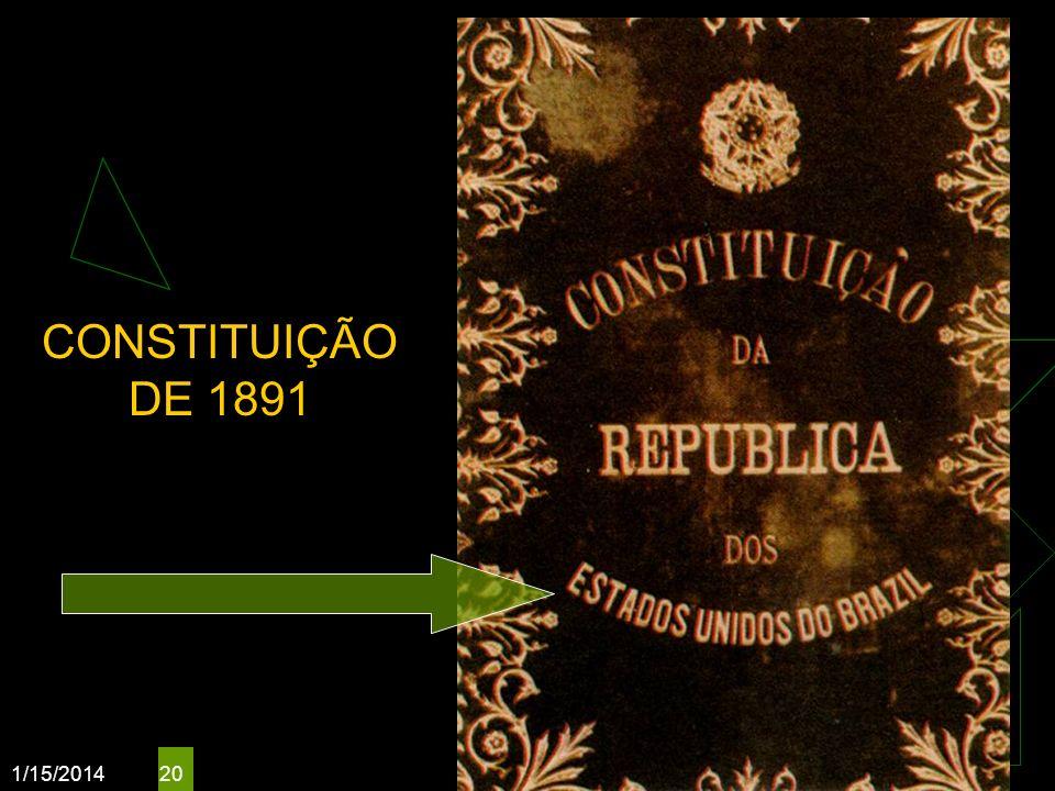 1/15/2014 20 CONSTITUIÇÃO DE 1891