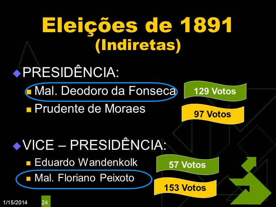 1/15/2014 24 Eleições de 1891 (Indiretas) PRESIDÊNCIA: Mal. Deodoro da Fonseca Prudente de Moraes VICE – PRESIDÊNCIA: Eduardo Wandenkolk Mal. Floriano