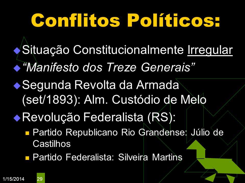 1/15/2014 29 Conflitos Políticos: Situação Constitucionalmente Irregular Manifesto dos Treze Generais Segunda Revolta da Armada (set/1893): Alm. Custó