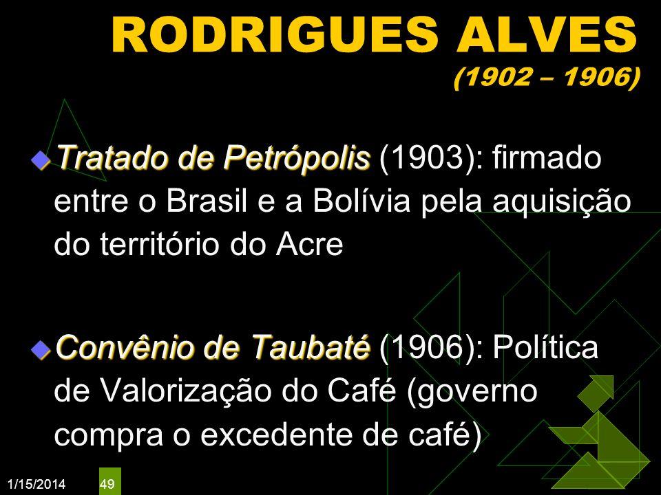 1/15/2014 49 RODRIGUES ALVES (1902 – 1906) Tratado de Petrópolis Tratado de Petrópolis (1903): firmado entre o Brasil e a Bolívia pela aquisição do te