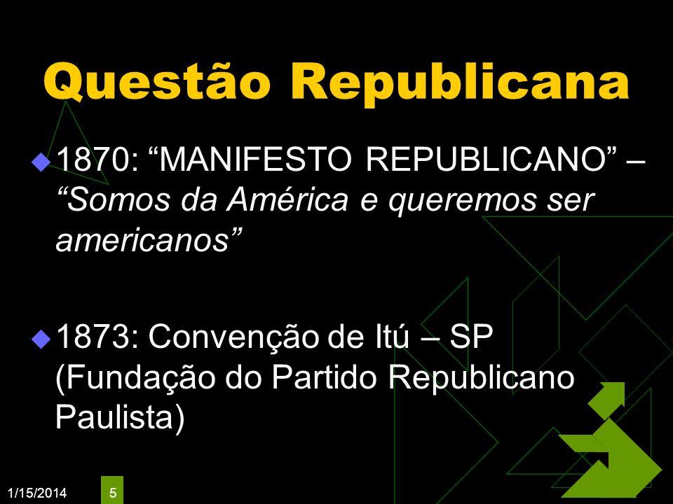 1/15/2014 5 Questão Republicana 1870: MANIFESTO REPUBLICANO – Somos da América e queremos ser americanos 1873: Convenção de Itú – SP (Fundação do Part