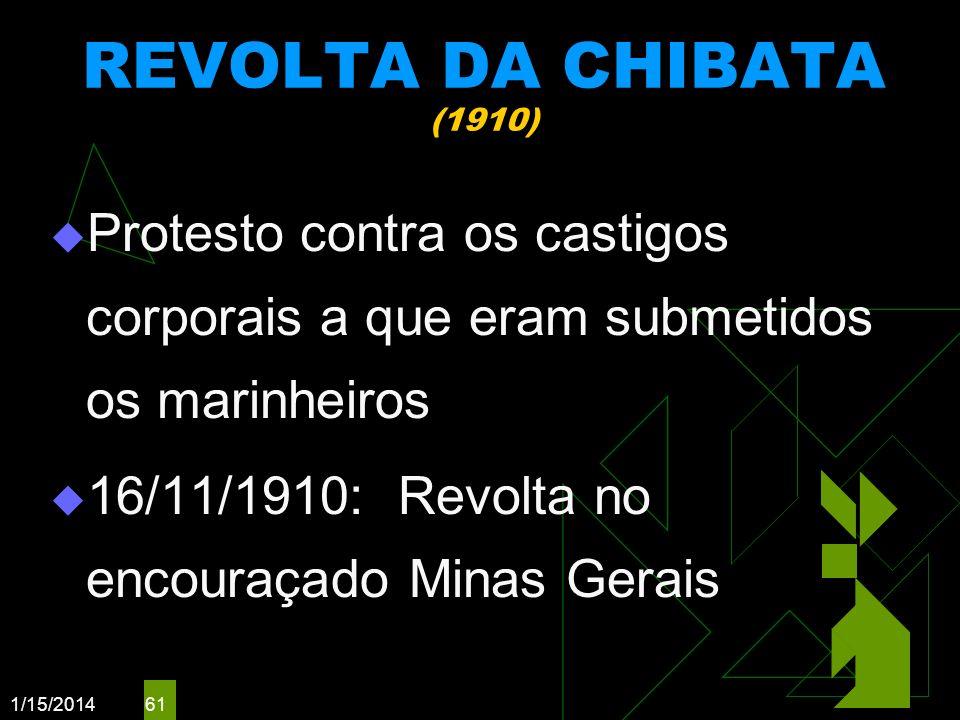 1/15/2014 61 REVOLTA DA CHIBATA (1910) Protesto contra os castigos corporais a que eram submetidos os marinheiros 16/11/1910: Revolta no encouraçado M