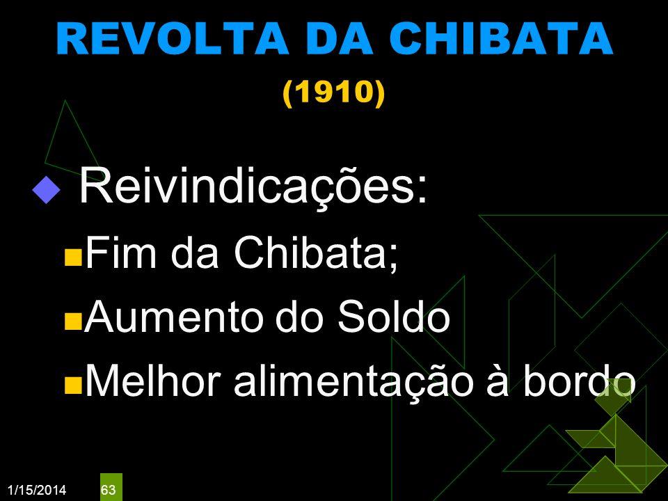 1/15/2014 63 REVOLTA DA CHIBATA (1910) Reivindicações: Fim da Chibata; Aumento do Soldo Melhor alimentação à bordo
