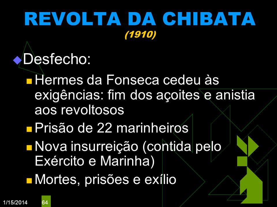 1/15/2014 64 REVOLTA DA CHIBATA (1910) Desfecho: Hermes da Fonseca cedeu às exigências: fim dos açoites e anistia aos revoltosos Prisão de 22 marinhei