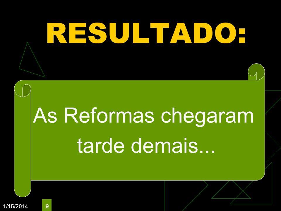 1/15/2014 9 RESULTADO: As Reformas chegaram tarde demais...