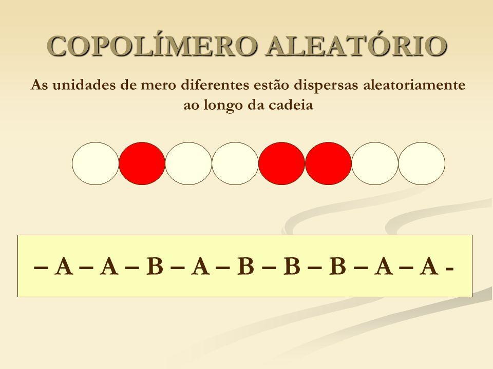 COPOLÍMERO ALEATÓRIO As unidades de mero diferentes estão dispersas aleatoriamente ao longo da cadeia – A – A – B – A – B – B – B – A – A -
