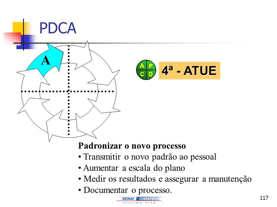 117 PDCA Padronizar o novo processo Transmitir o novo padrão ao pessoal Aumentar a escala do plano Medir os resultados e assegurar a manutenção Docume