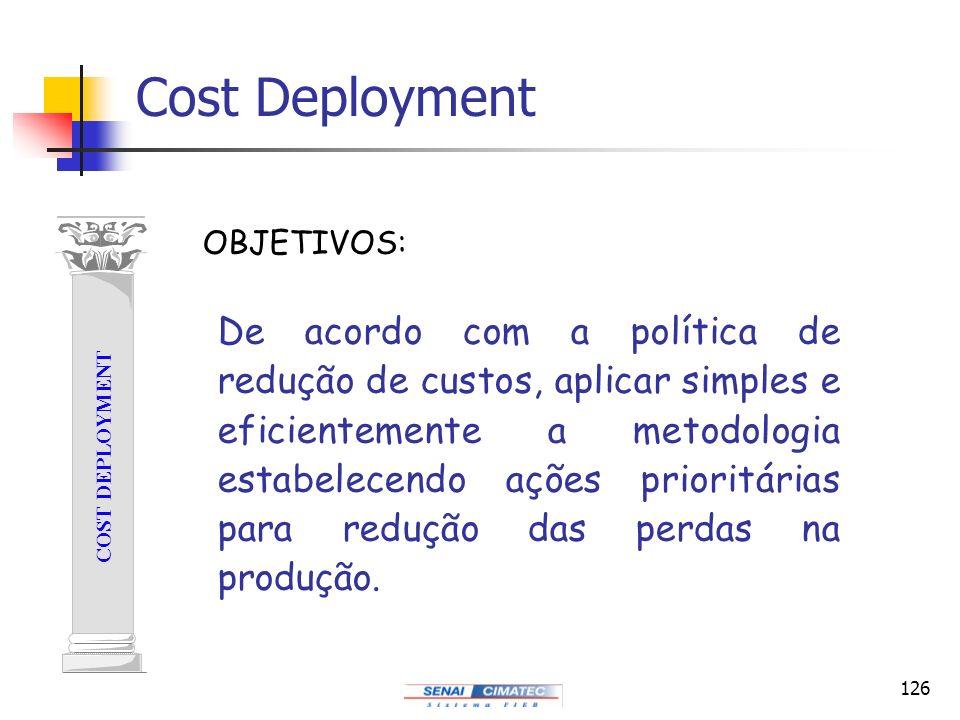 126 Cost Deployment COST DEPLOYMENT De acordo com a política de redução de custos, aplicar simples e eficientemente a metodologia estabelecendo ações