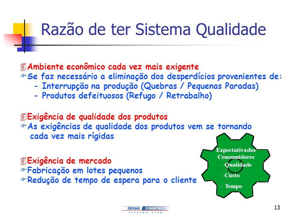 13 Razão de ter Sistema Qualidade 4Exigência de mercado FFabricação em lotes pequenos FRedução de tempo de espera para o cliente 4Exigência de qualida