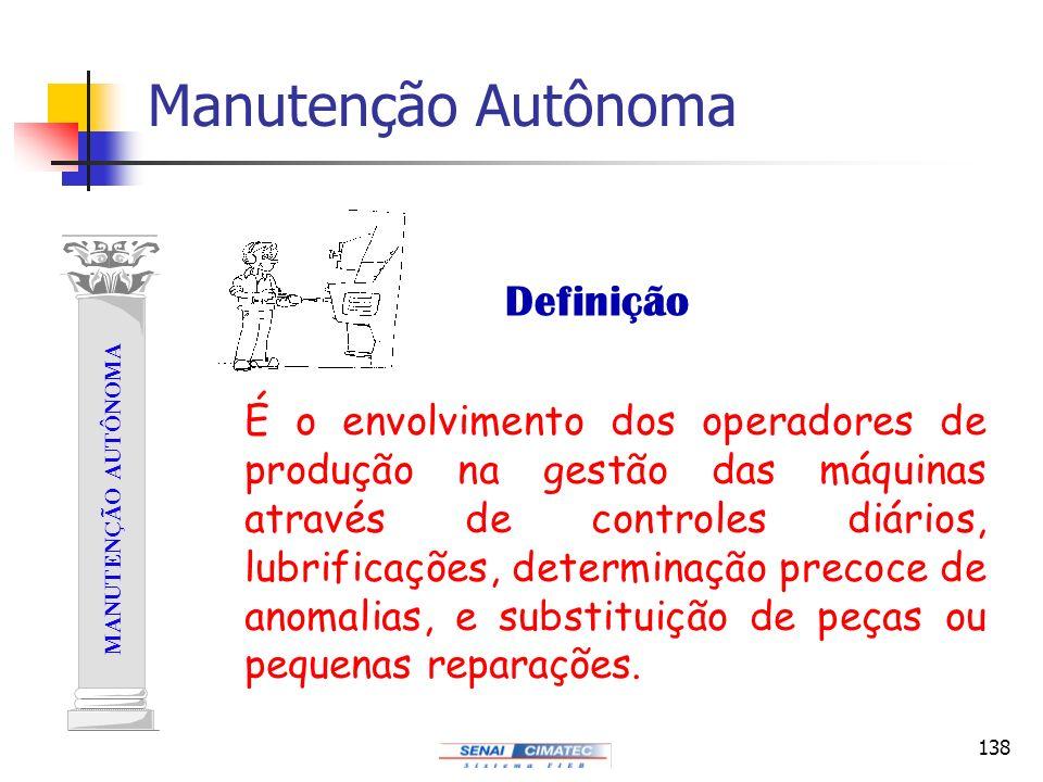 138 MANUTENÇÃO AUTÔNOMA Manutenção Autônoma Definição É o envolvimento dos operadores de produção na gestão das máquinas através de controles diários,