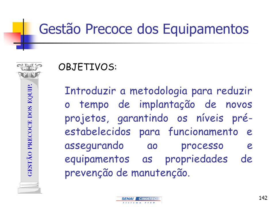 142 Gestão Precoce dos Equipamentos GESTÃO PRECOCE DOS EQUIP. Introduzir a metodologia para reduzir o tempo de implantação de novos projetos, garantin