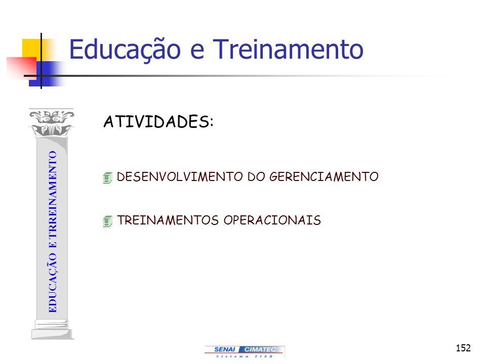 152 EDUCAÇÃO E TRREINAMENTO 4 DESENVOLVIMENTO DO GERENCIAMENTO 4 TREINAMENTOS OPERACIONAIS ATIVIDADES: Educação e Treinamento