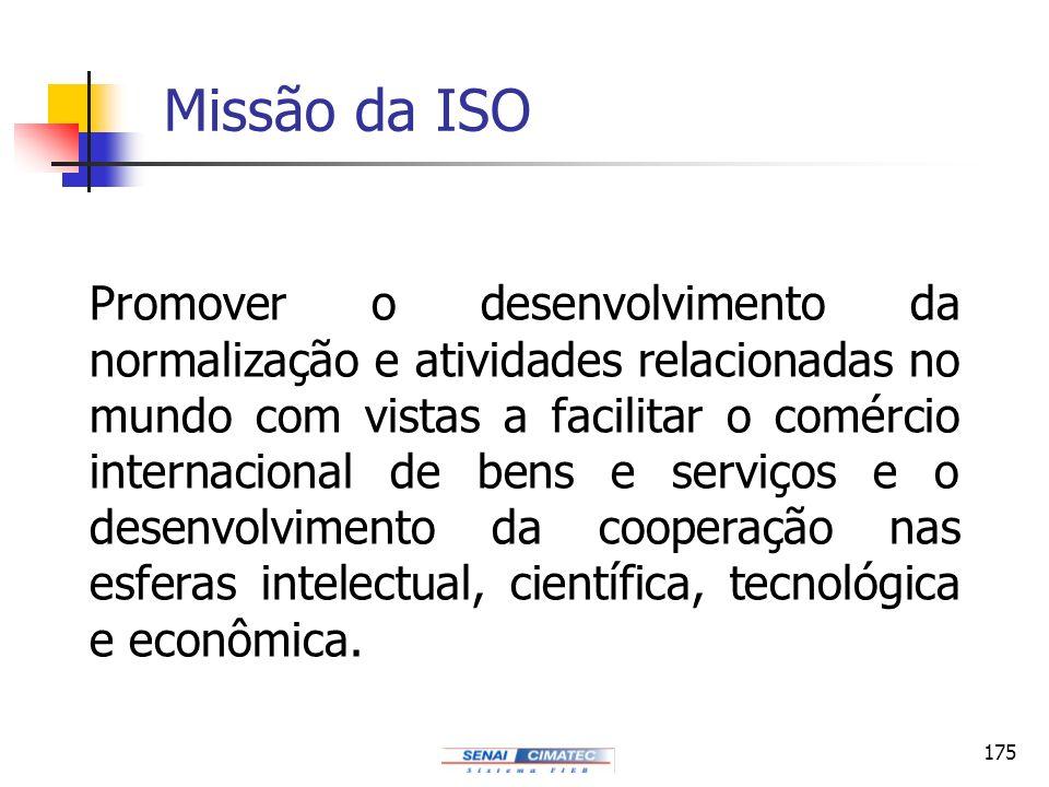 175 Missão da ISO Promover o desenvolvimento da normalização e atividades relacionadas no mundo com vistas a facilitar o comércio internacional de ben