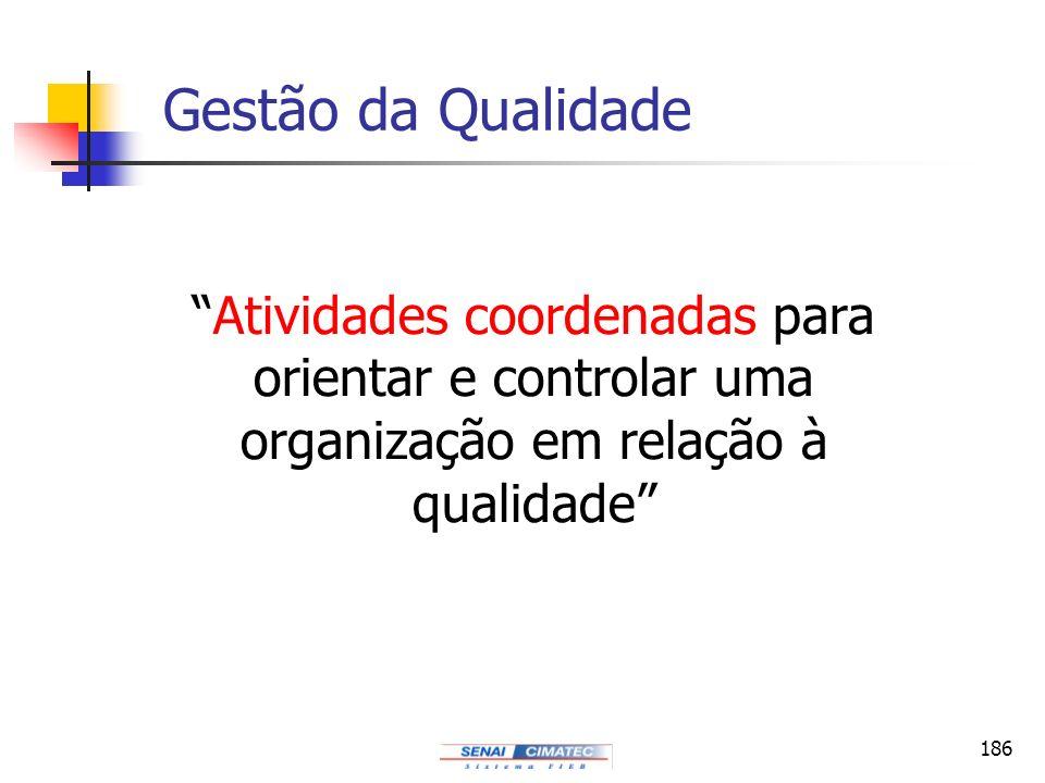 186 Gestão da Qualidade Atividades coordenadas para orientar e controlar uma organização em relação à qualidade