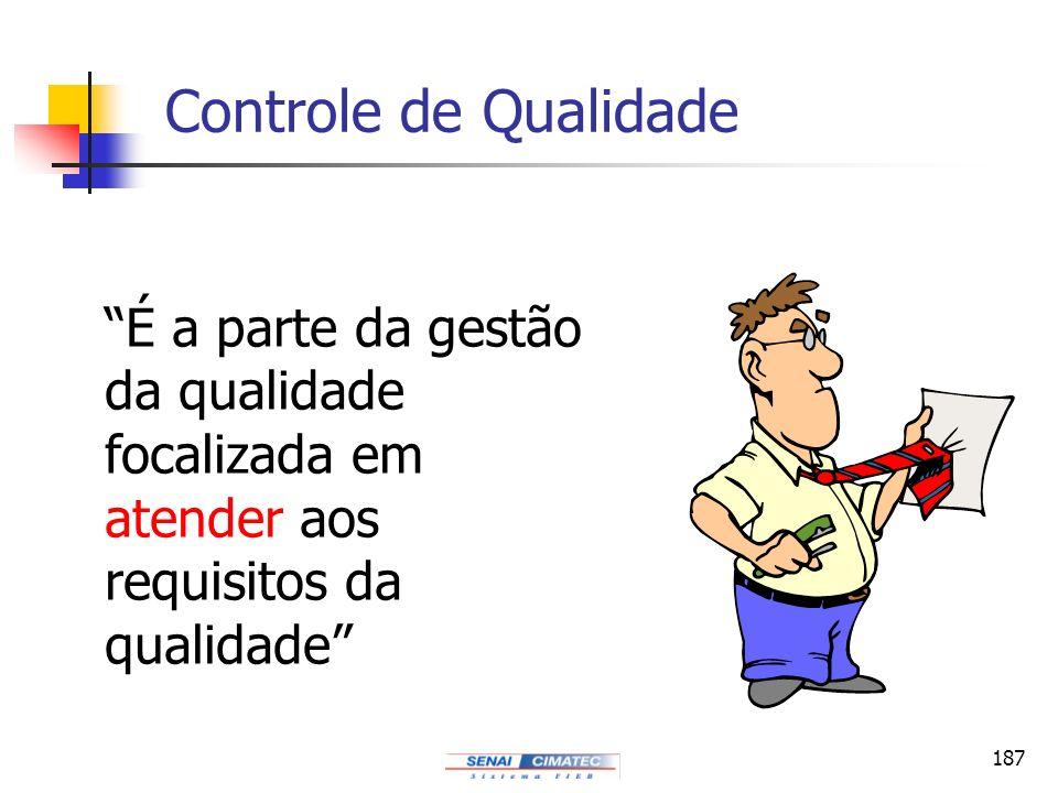 187 Controle de Qualidade É a parte da gestão da qualidade focalizada em atender aos requisitos da qualidade