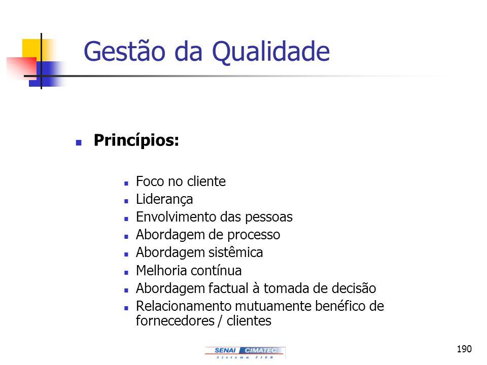190 Gestão da Qualidade Princípios: Foco no cliente Liderança Envolvimento das pessoas Abordagem de processo Abordagem sistêmica Melhoria contínua Abo