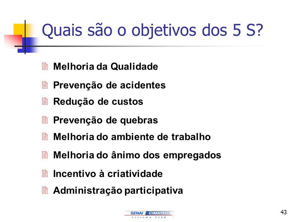 43 Quais são o objetivos dos 5 S? 2Melhoria da Qualidade 2Prevenção de acidentes 2Redução de custos 2Prevenção de quebras 2Melhoria do ambiente de tra