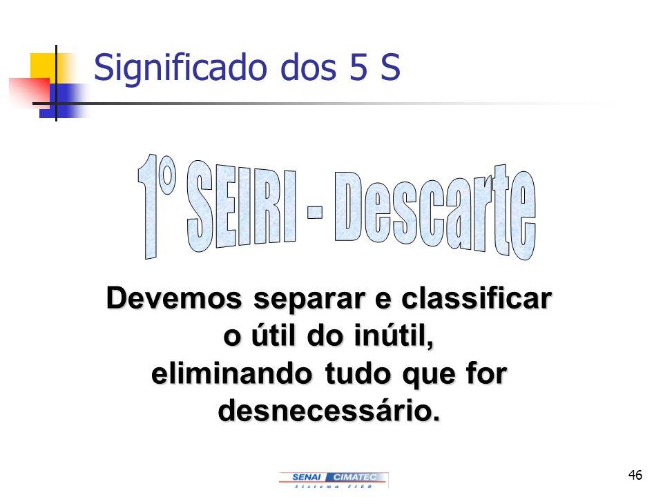 46 Significado dos 5 S Devemos separar e classificar o útil do inútil, eliminando tudo que for desnecessário.