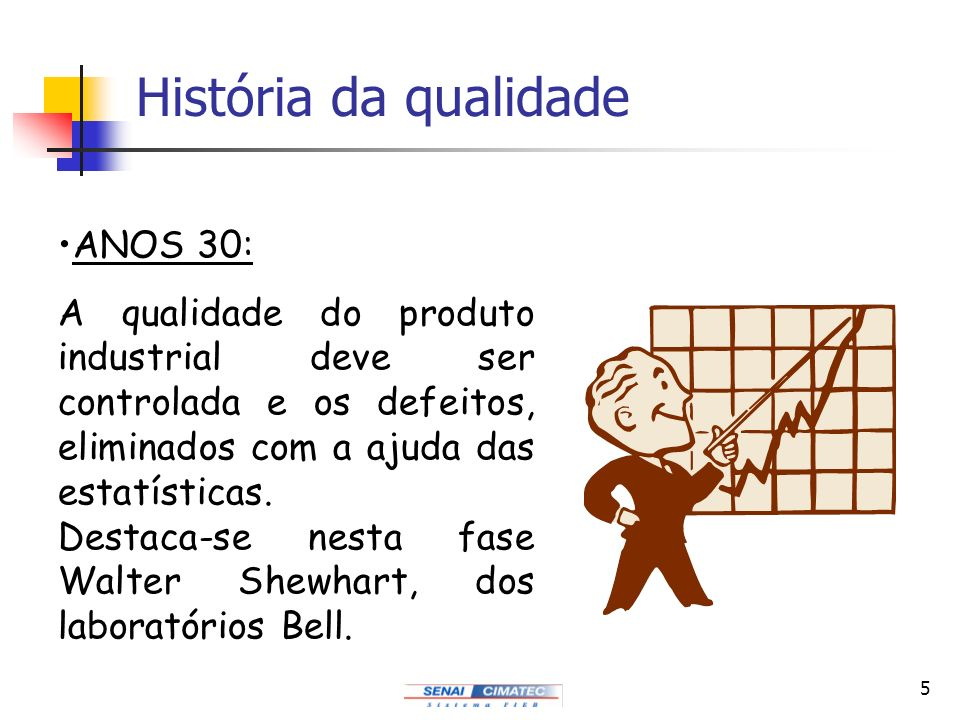 5 História da qualidade ANOS 30: A qualidade do produto industrial deve ser controlada e os defeitos, eliminados com a ajuda das estatísticas. Destaca