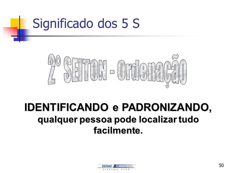 50 Significado dos 5 S IDENTIFICANDO e PADRONIZANDO, qualquer pessoa pode localizar tudo facilmente.