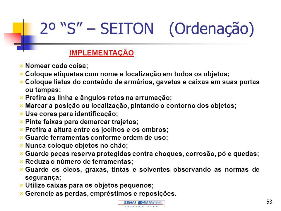 53 2º S – SEITON (Ordenação) IMPLEMENTAÇÃO ûNomear cada coisa; ûColoque etiquetas com nome e localização em todos os objetos; ûColoque listas do conte