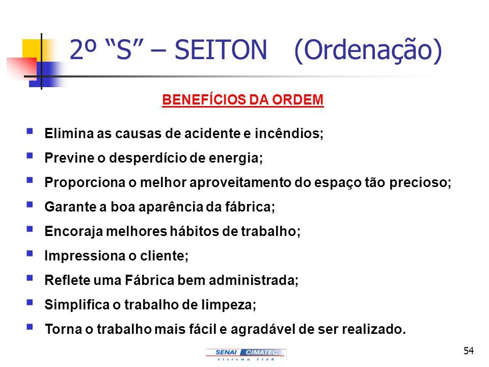 54 2º S – SEITON (Ordenação) BENEFÍCIOS DA ORDEM Elimina as causas de acidente e incêndios; Previne o desperdício de energia; Proporciona o melhor apr