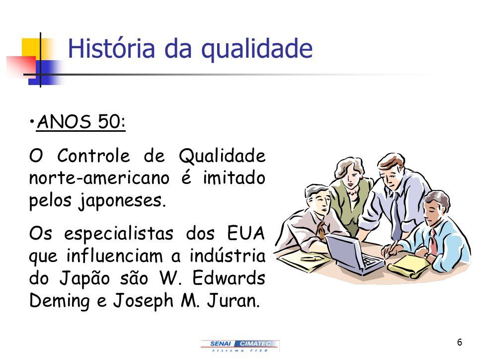 6 História da qualidade ANOS 50: O Controle de Qualidade norte-americano é imitado pelos japoneses. Os especialistas dos EUA que influenciam a indústr