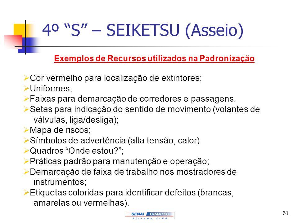 61 4º S – SEIKETSU (Asseio) Exemplos de Recursos utilizados na Padronização Cor vermelho para localização de extintores; Uniformes; Faixas para demarc