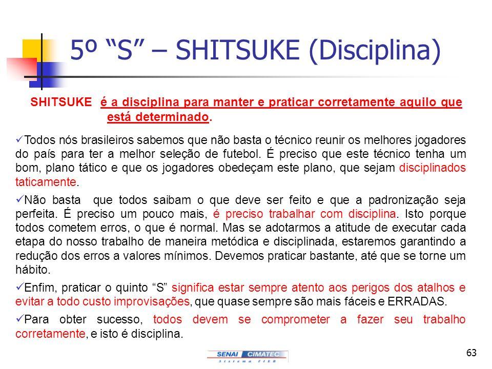 63 5º S – SHITSUKE (Disciplina) Todos nós brasileiros sabemos que não basta o técnico reunir os melhores jogadores do país para ter a melhor seleção d
