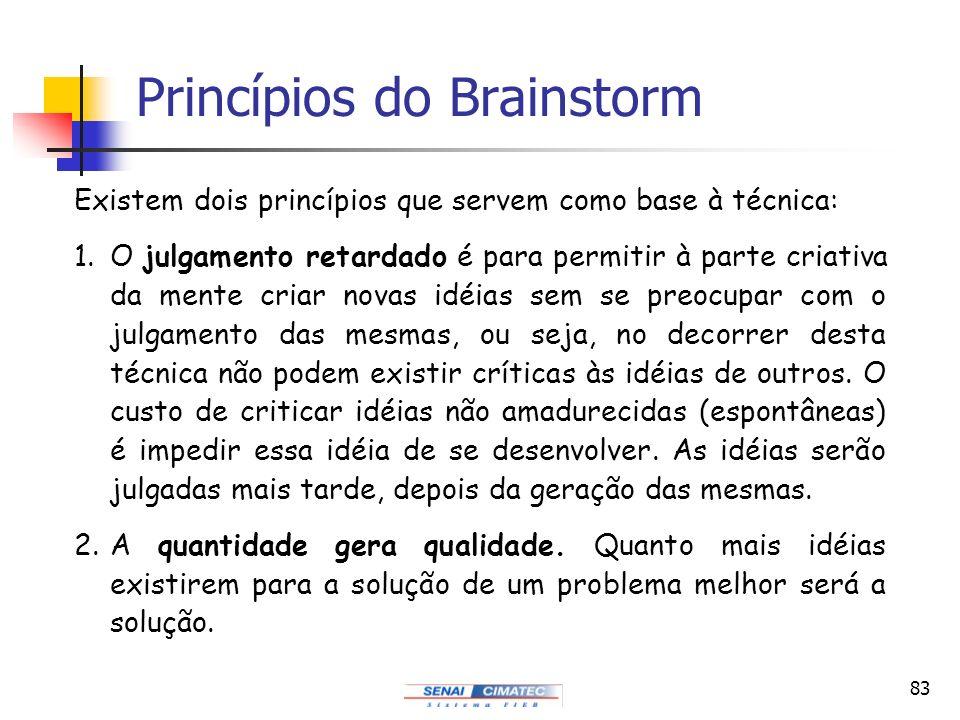83 Princípios do Brainstorm Existem dois princípios que servem como base à técnica: 1.O julgamento retardado é para permitir à parte criativa da mente