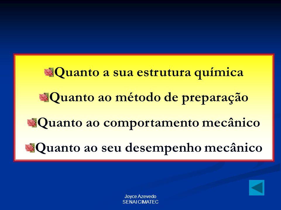 Joyce Azevedo SENAI CIMATEC Quanto a sua estrutura química Quanto ao método de preparação Quanto ao comportamento mecânico Quanto ao seu desempenho me