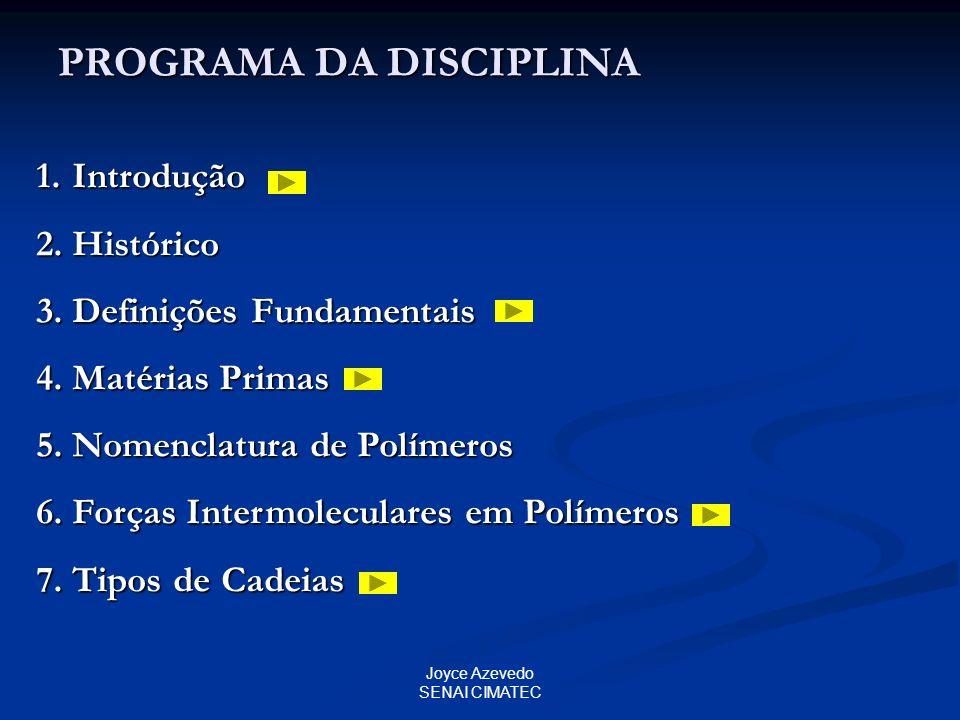 Joyce Azevedo SENAI CIMATEC PROGRAMA DA DISCIPLINA 1.Introdução 2.Histórico 3.Definições Fundamentais 4.Matérias Primas 5.Nomenclatura de Polímeros 6.