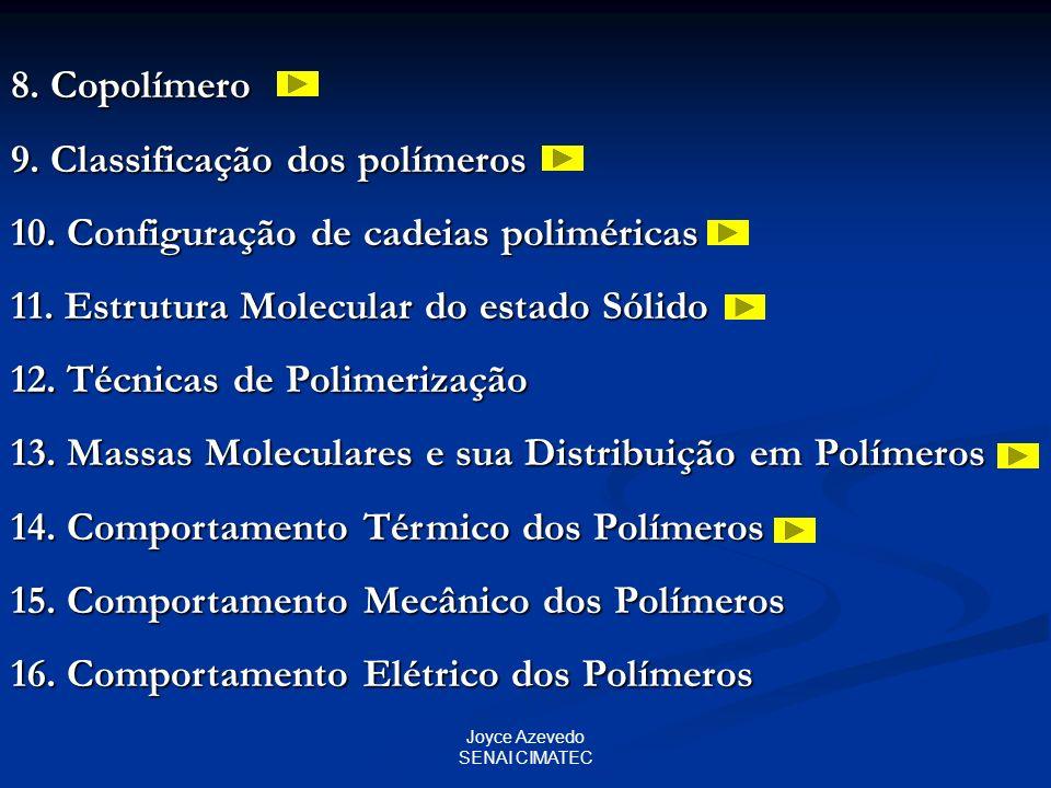 Joyce Azevedo SENAI CIMATEC 8. Copolímero 9. Classificação dos polímeros 10. Configuração de cadeias poliméricas 11. Estrutura Molecular do estado Sól