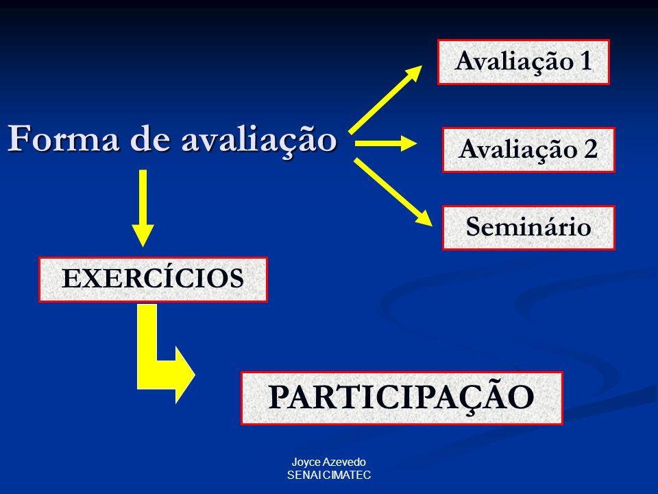 Joyce Azevedo SENAI CIMATEC Forma de avaliação Avaliação 1 Avaliação 2 Seminário EXERCÍCIOS PARTICIPAÇÃO