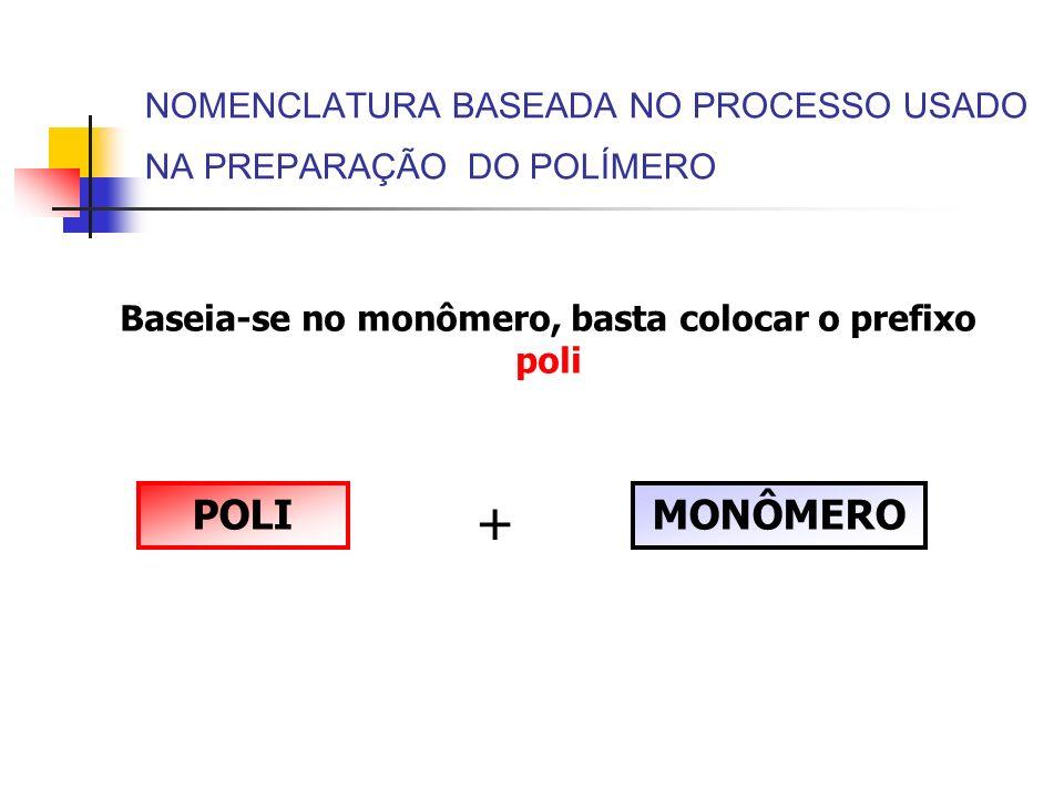 NOMENCLATURA BASEADA NO PROCESSO USADO NA PREPARAÇÃO DO POLÍMERO Baseia-se no monômero, basta colocar o prefixo poli POLI + MONÔMERO