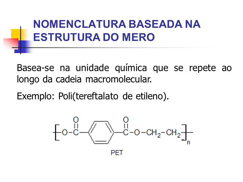 NOMENCLATURA BASEADA NA ESTRUTURA DO MERO Basea-se na unidade química que se repete ao longo da cadeia macromolecular. Exemplo: Poli(tereftalato de et