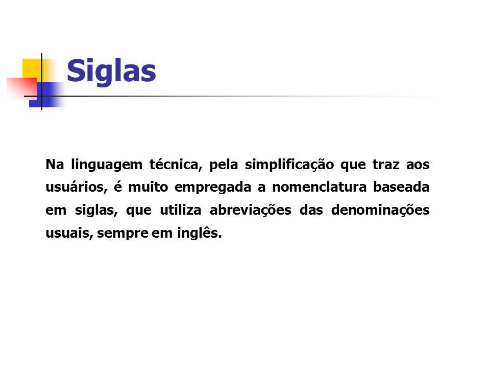 Siglas Na linguagem técnica, pela simplificação que traz aos usuários, é muito empregada a nomenclatura baseada em siglas, que utiliza abreviações das