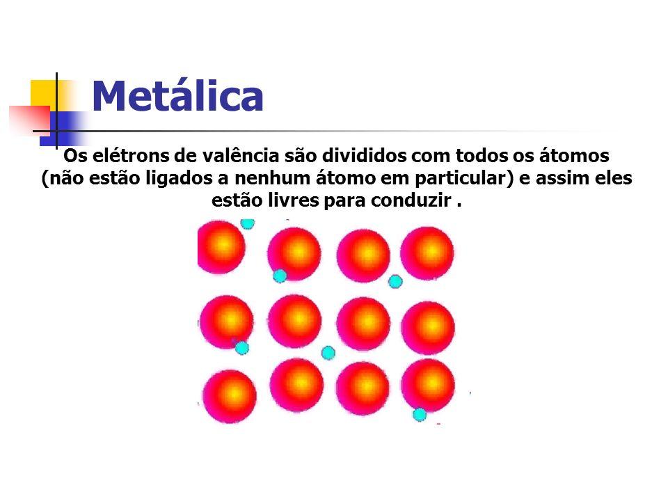 Metálica Os elétrons de valência são divididos com todos os átomos (não estão ligados a nenhum átomo em particular) e assim eles estão livres para con