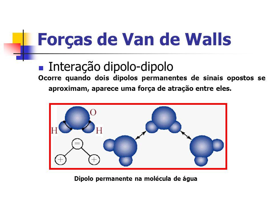 Forças de Van de Walls Interação dipolo-dipolo Ocorre quando dois dipolos permanentes de sinais opostos se aproximam, aparece uma força de atração ent