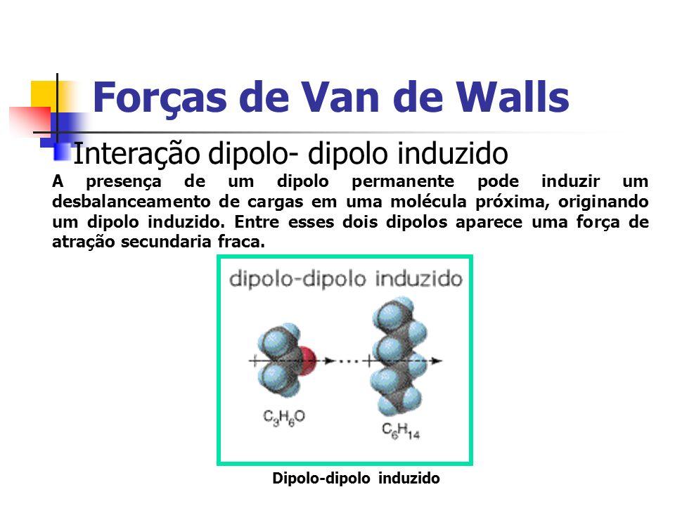 Forças de Van de Walls Interação dipolo- dipolo induzido A presença de um dipolo permanente pode induzir um desbalanceamento de cargas em uma molécula