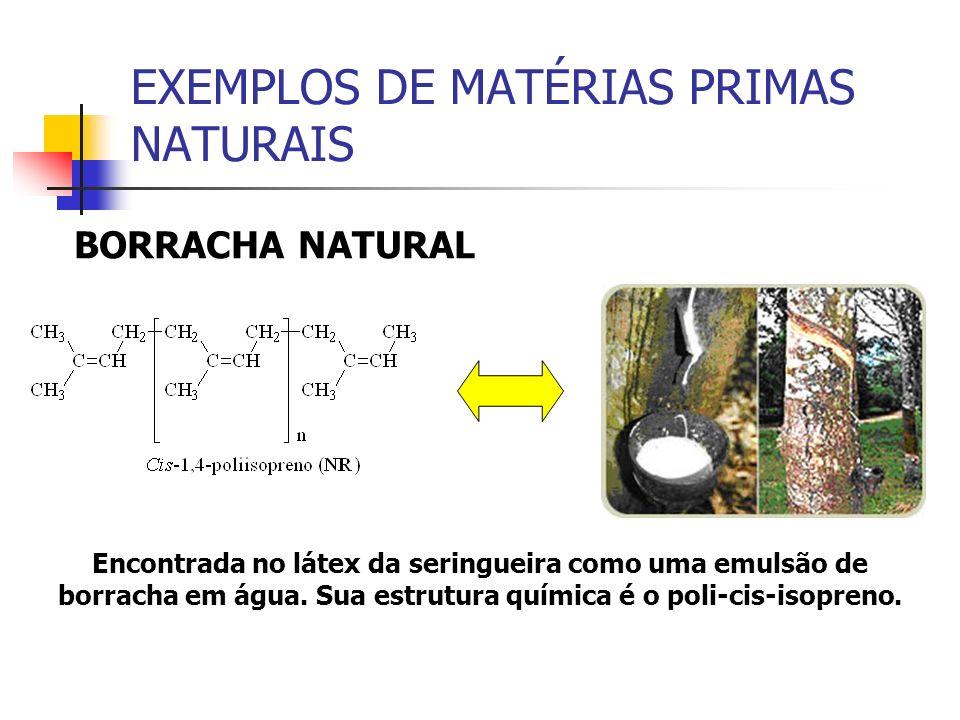 EXEMPLOS DE MATÉRIAS PRIMAS NATURAIS BORRACHA NATURAL Encontrada no látex da seringueira como uma emulsão de borracha em água. Sua estrutura química é