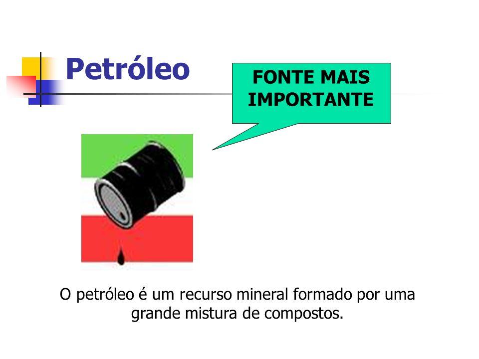 Petróleo FONTE MAIS IMPORTANTE O petróleo é um recurso mineral formado por uma grande mistura de compostos.