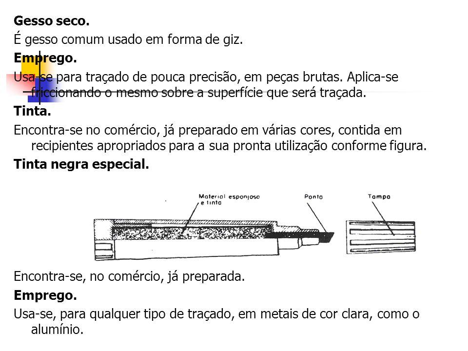 Gesso seco. É gesso comum usado em forma de giz. Emprego. Usa-se para traçado de pouca precisão, em peças brutas. Aplica-se friccionando o mesmo sobre