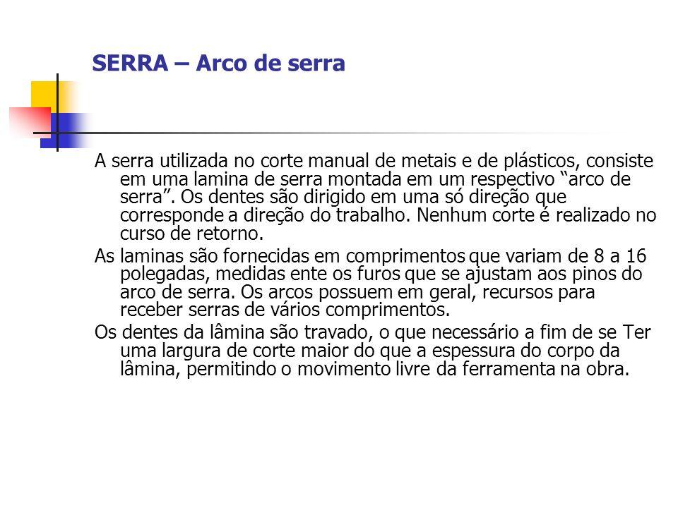 SERRA – Arco de serra A serra utilizada no corte manual de metais e de plásticos, consiste em uma lamina de serra montada em um respectivo arco de ser